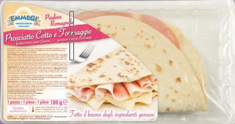 Piadina farcita Prosciutto cotto / Formaggio gr.180