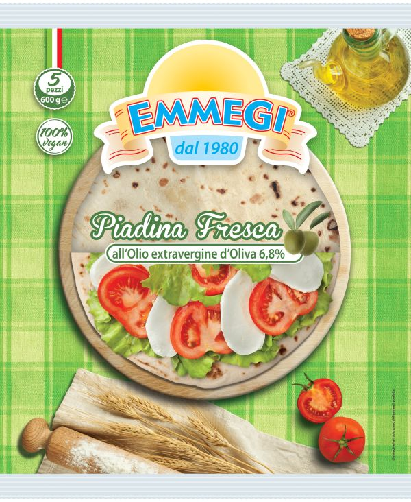 Thin fresh piadina with Extra Virgin Olive Oil  5 pcs. 600 gr.